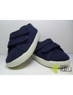 Zapatillas Lona Dos Velcros Azules Marino