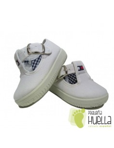 Pepitos Lona Blancos Con Hebilla