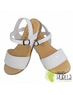 Sandalia Piel Blanca con Glitter Blanco