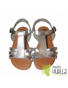 Sandalia Piel color Plata