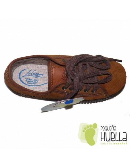 Zapatillas La Cadena Niños y Niñas Serraje Marrón