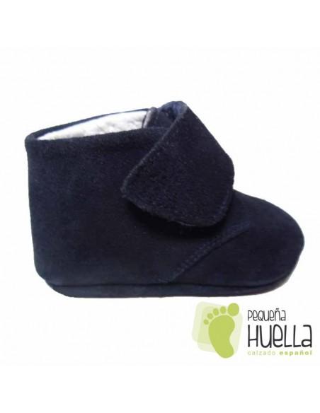 Botitas Bebés Serraje Azul Marino Velcro
