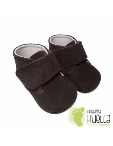 Botitas Bebés Piel Serraje Marrón Chocolate Velcro