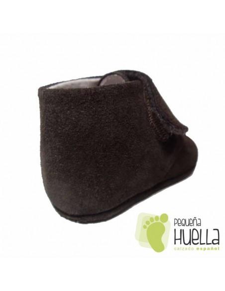 Botas Bebé Piel Serraje Marrones Chocolate Velcro