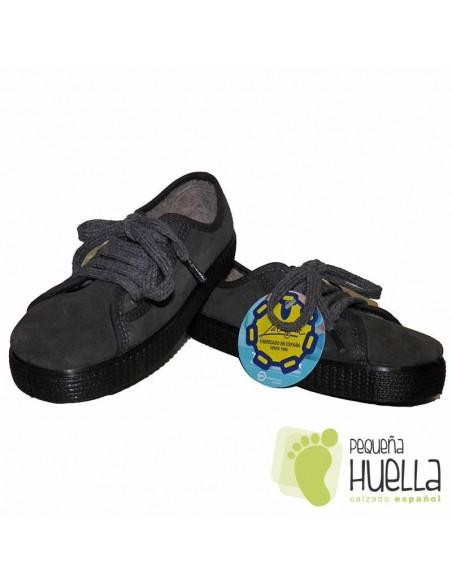 Zapatillas La Cadena Serraje Grises de Niños y Niñas