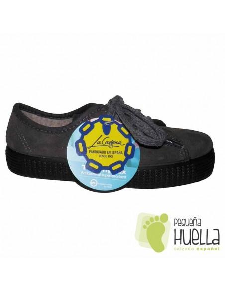 Zapatillas Serraje Grises para Niñas y Niños La Cadena