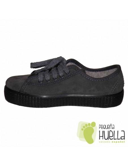 Zapatillas La Cadena Serraje Grises para Niñas y Niños