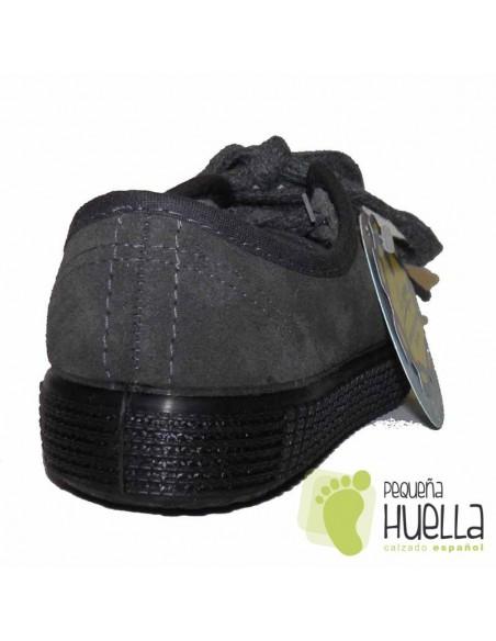 Zapatillas con Cordones  La Cadena Serraje Grises