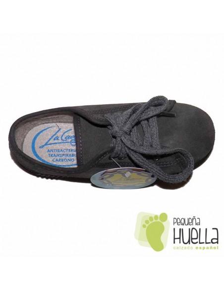 Zapatillas Suela Gruesa La Cadena Serraje Grises con Cordones Niños y Niñas