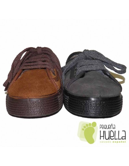 Zapatillas  LA CADENA de Piel Serraje  y con Cordones para Niños y Niñas