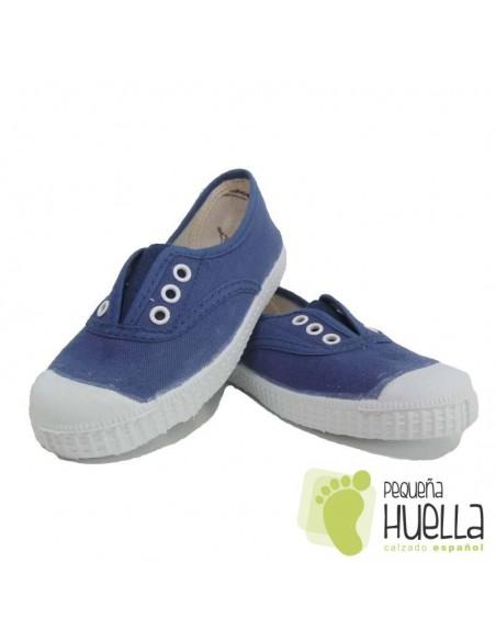 Zapatillas Lona Azul Jeans Niños Puntera de Goma, La Cadena.