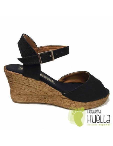 Alpargatas sandalias Negras de esparto para mujer