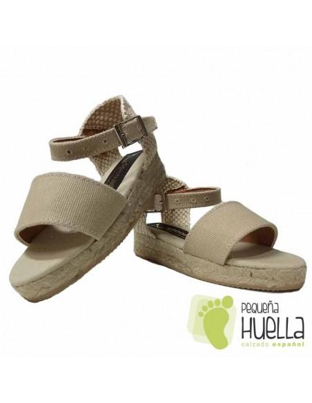 Alpargatas sandalia de cáñamo Beige para chica