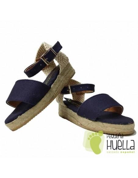 Alpargatas Azul Marino o sandalias de esparto para niñas