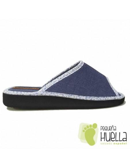 Zapatillas planas lino azules para Casa Doctor Cutillas 24504