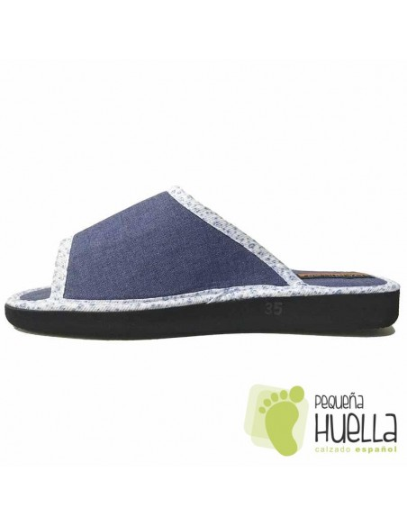 Zapatillas planas lino azul para Casa Doctor Cutillas 24504