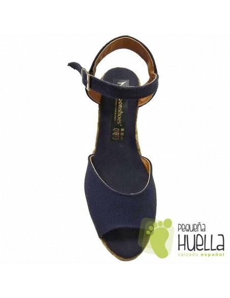 Alpargatas sandalias Azul Marino con Cuña Mujer