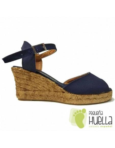 Sandalias Alpargatas de yute Azul Marino con Cuña para Mujeres