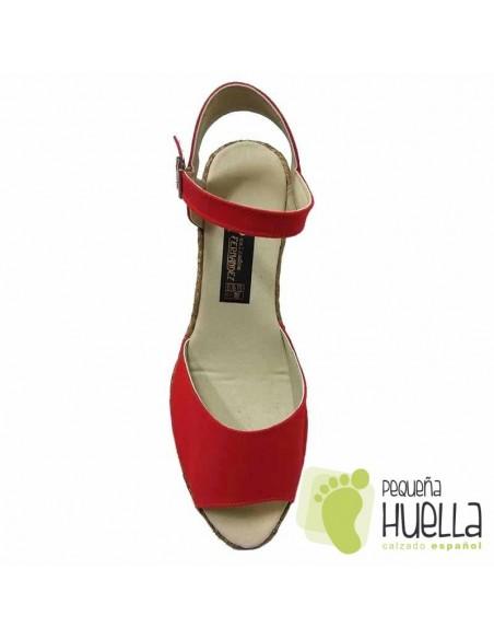 Alpargatas sandalias Rojas con Cuña Mujer