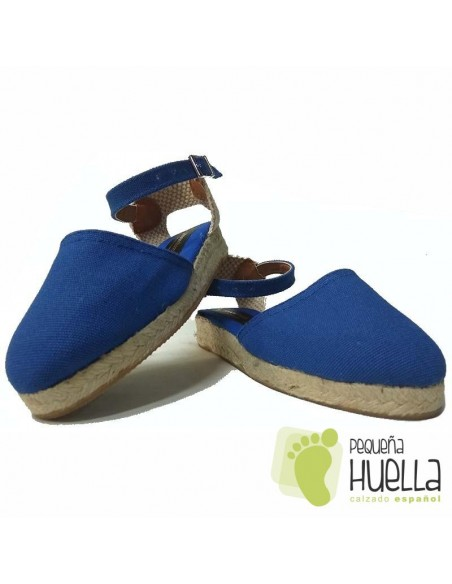 Alpargatas de Esparto Valencianas Azul Francia para Niña