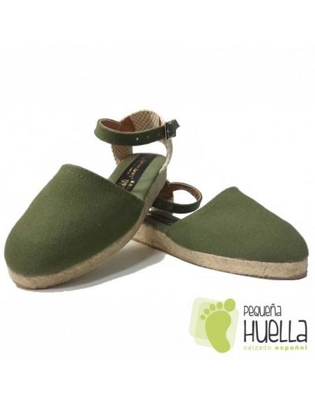 Alpargatas de Esparto Valencianas Verde Caqui para Niñas