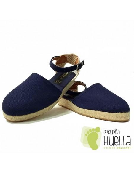 Alpargatas Valencianas Azul Marino para Niñas Yute