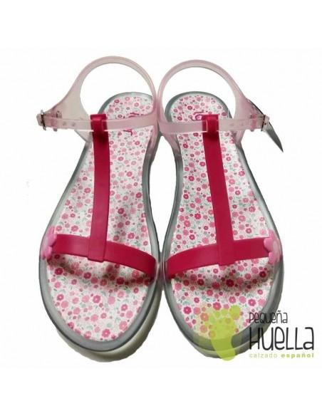 Sandalias o Chancla rosa de caucho para niña IGOR
