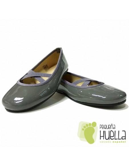 Zapatos Piel Charol Gris