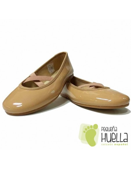 Zapatos Piel Charol Camel