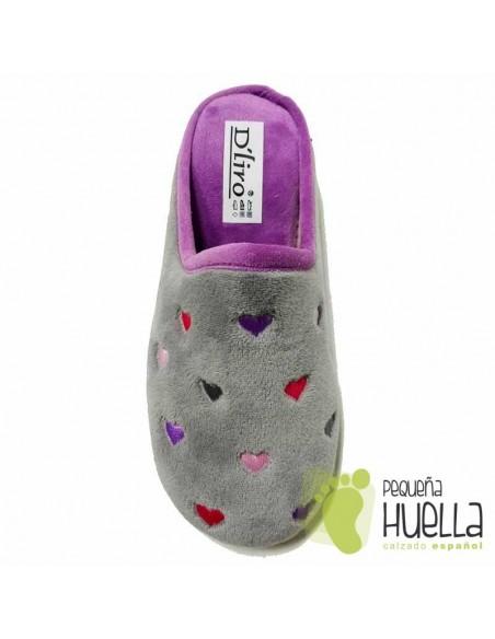 Zapatillas de Casa Grises y Lilas