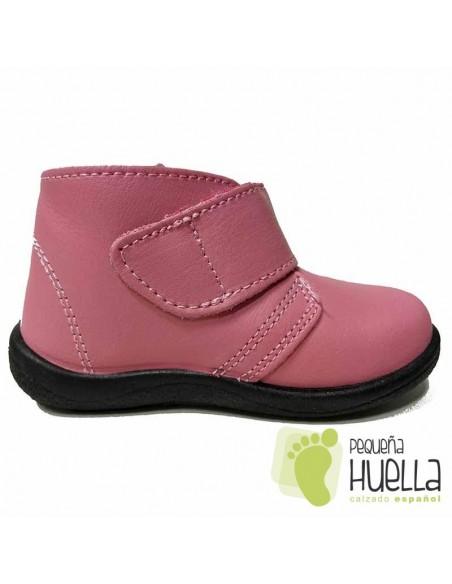Bota Bebé Niño Niña Piel Velcro Rosas
