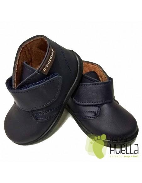 Bota Bebé Niño Niña Piel Velcro Azules