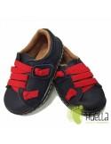 Zapato Niño Piel Velcro Azules