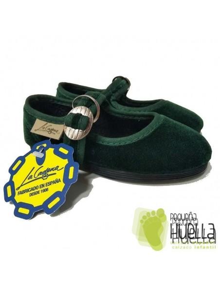 Merceditas Terciopelo Verde Botella La Cadena