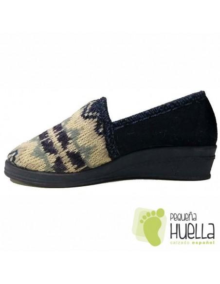Zapatillas Azules de Lana para Casa de Mujer Dr Cutillas 9444