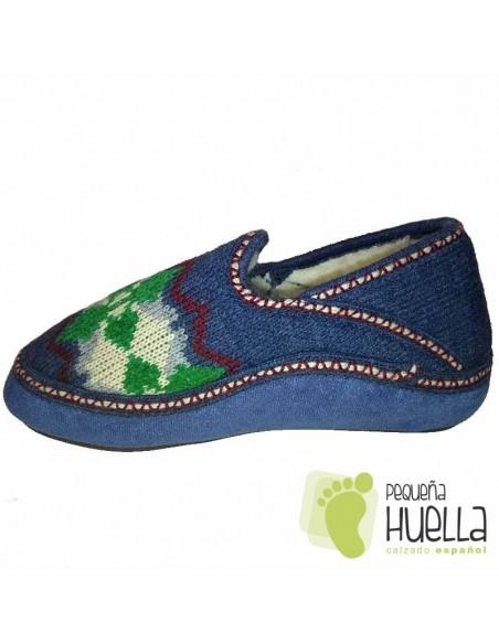 Zapatillas de lana para Casa de Mujer CALENTITAS Azul Tejano