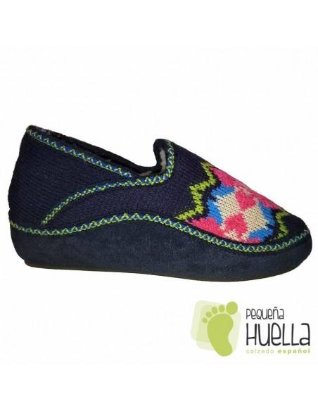 Zapatillas de lana para Casa de Mujer CALENTITAS Azul Marino