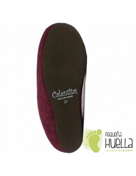Zapatillas de lana para Casa de Mujer CALENTITAS Burdeos