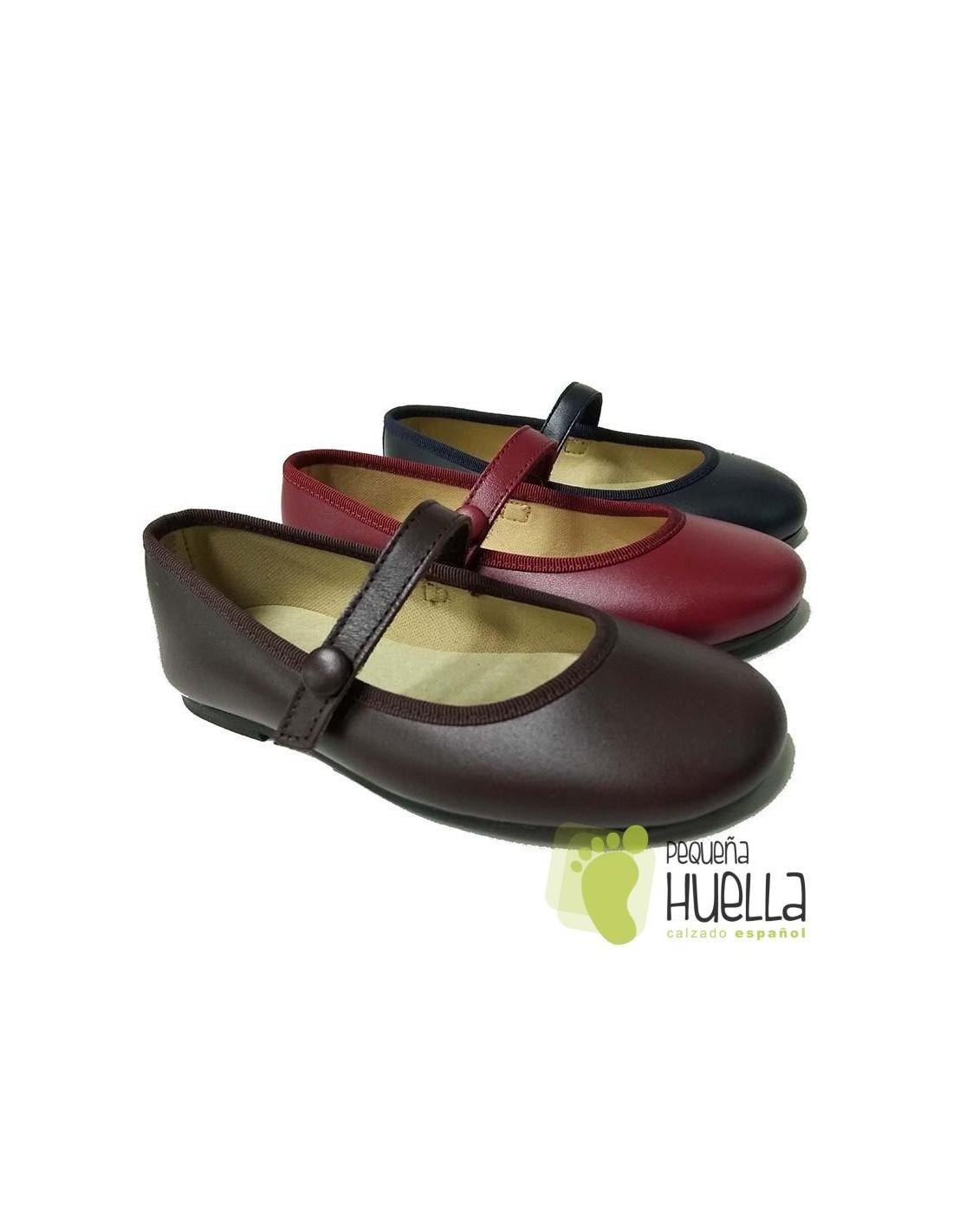 89666234c66 ... Merceditas Niña Piel Con Velcro Botón  Zapatos ...