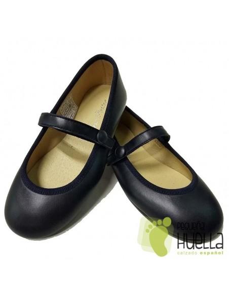 Zapatos Niña de Piel Azul Marino