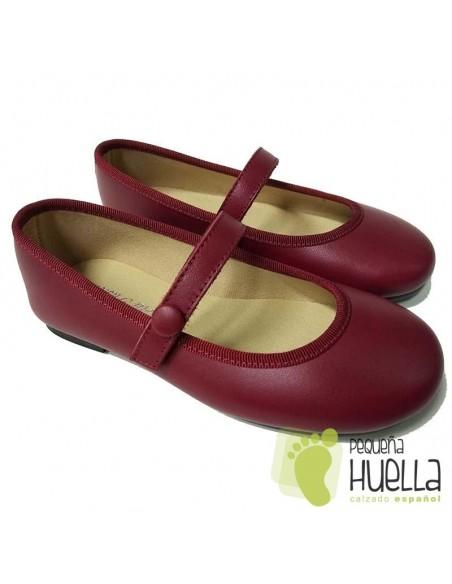 Zapatos Niña de Piel Burdeos