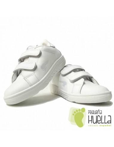 Deportivos Niños Piel Blancos con Velcro