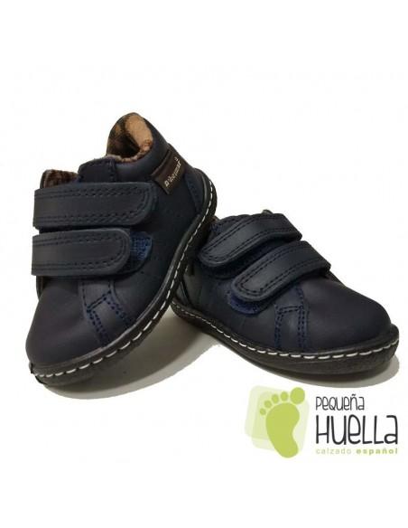 Botita Niños Piel con Velcro Azules