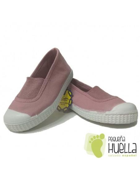 Zapatillas Niñas Lona Rosa Palo con Puntera, La Cadena