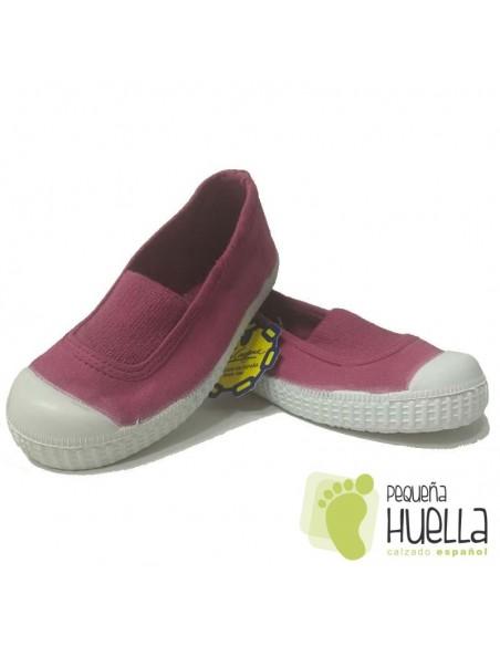 Zapatillas Niñas Lona Rosa Fucsia con Puntera, La Cadena