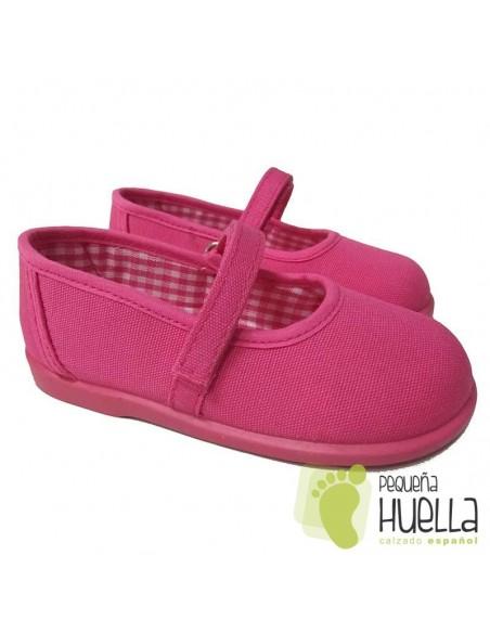 Merceditas Lona Rosa Fucsia para Niñas Zapy con Velcro