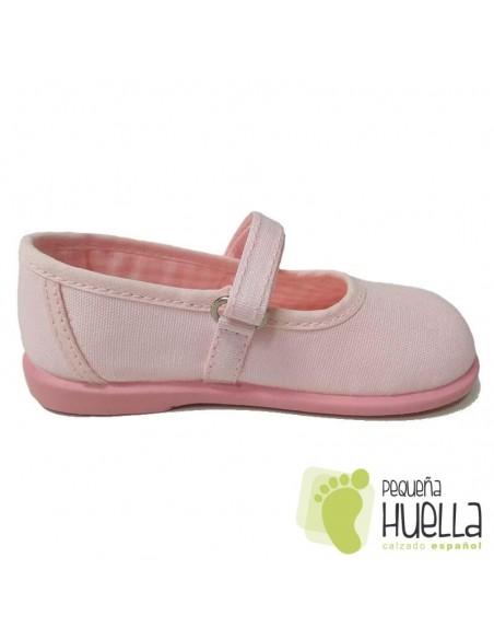 Merceditas Lona Rosas para Niñas Zapy con Velcro