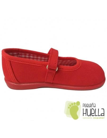 Merceditas Lona Rojas para Niñas Zapy con Velcro