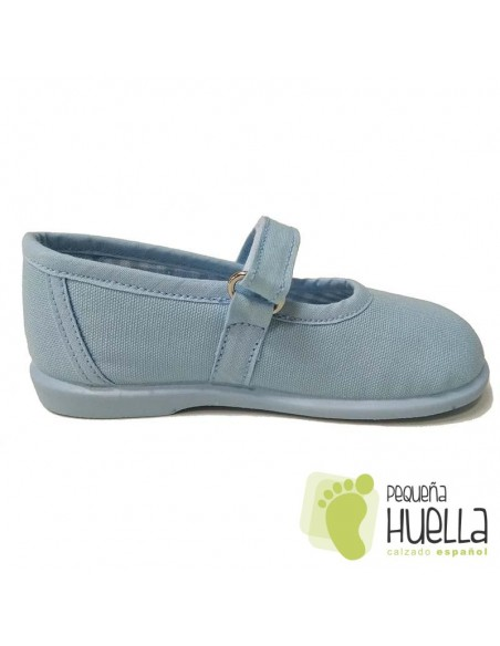 Merceditas Lona Azul Celeste para Niñas Zapy con Velcro