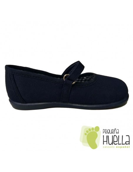 Merceditas Lona Azul Marino para Niñas Zapy con Velcro 218